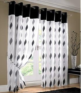 White Black Silver Curtains   Eyelet Wave Lined Voile 56u0027u0027 ...