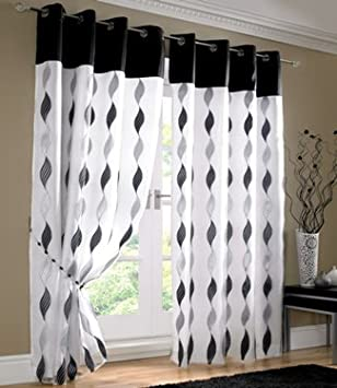 Kitchen Curtains black and silver kitchen curtains : White Black Silver Curtains - Eyelet Wave Lined Voile 56'' x 90 ...