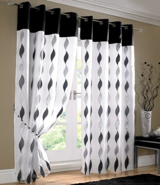 White Black Silver Curtains Eyelet Wave Lined Voile 56 X 90