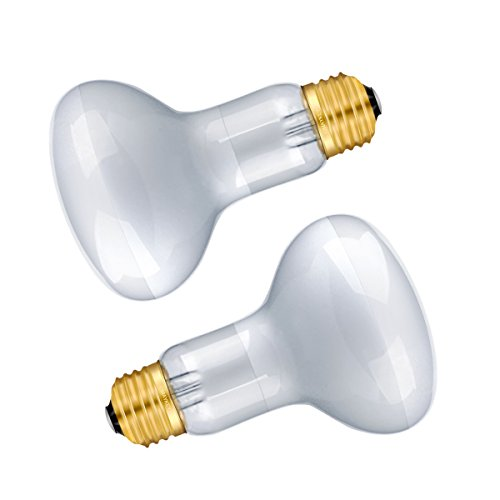 OMAYKEY 2-pack 50W Basking Spot Heat Lamps Soft White Glow UVA Glass Cover Heat Lamp/Bulb/Light for Reptiles and Amphibians