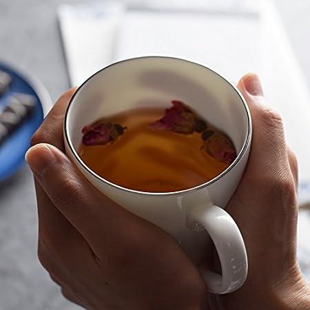 CF Fine Bone China marca el tazas con tapa de cerámica leche desayuno oficinas en el hogar minimalista taza de café: Amazon.es: Hogar