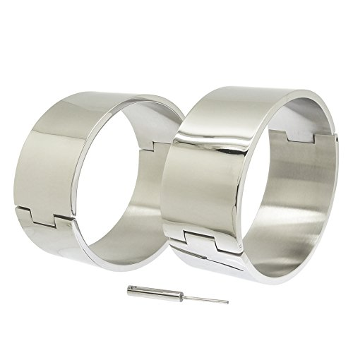 ACECHANNEL Polished Shining Stainless Steel Oval Shape Wrist Ankle Cuffs Lockable Bangle Salve Bracelets