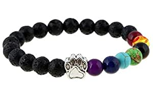 Cute Dog Claws 7 Color Chakra Healing Beads Lava Bracelet