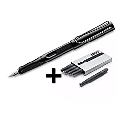 Lamy Safari Fountain Pen (19F) Black + 5 Black Ink Cartridges