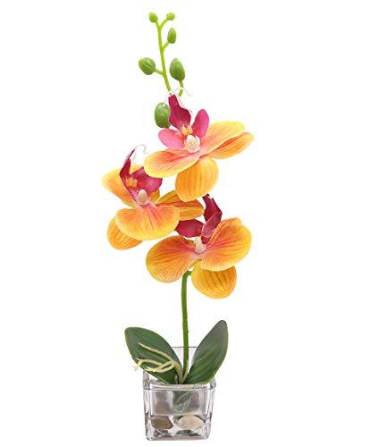 GXLMII Artificial Flowers Bonsai Lifelike Real Touch Arrangement Phalaenopsis Silk Orchid Wedding Party Home Centerpiece Decor