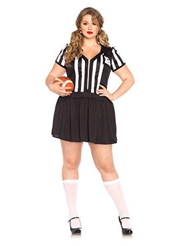 Halloween Costume Referee (Leg Avenue Women's Plus-Size Halftime Hottie Referee Costume, Black/White, 1X)