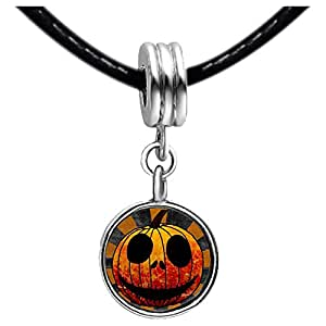 Chicforest Silver Plated Halloween carved pumpkin face Photo Red Zircon Crystal July Birthstone Flower dangle Charm Beads Fits Pandora Charms