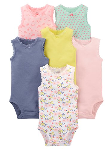 Simple Joys by Carter's Girls' 6-Pack Sleeveless Bodysuit, Pink, Purple, Yellow, Floral, 3-6 Months