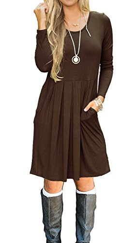 LILBETTER Womens Long Sleeve Pleated Casual Loose Swing Tunic Dress with Pockets Coffee-XL