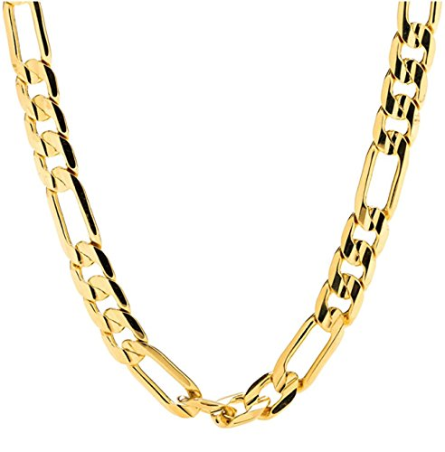 24k Figaro Gold Chain for Men 10MM Cuban link Necklace Real Diamond Cut Jewelry Resists Tarnishing US MADE -