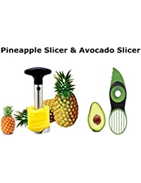 Get (3-in-1) Avocado Slicer (Tool) & Stainless Steel Pineapple Easy Slicer & Corer & Cutter For home and Kitchen lowestprice
