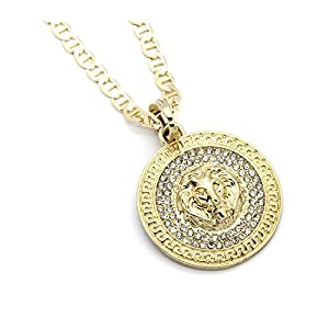 Mens Medallion Pattern Lion Gold Tone 4mm 24″ Mariner Chain Pendant Necklace