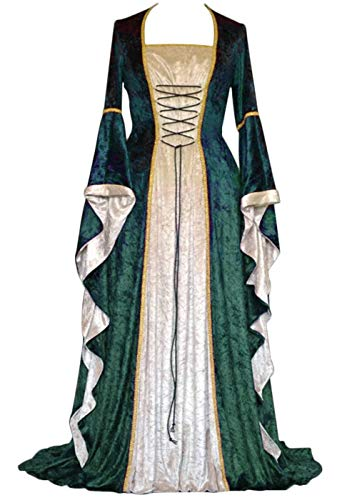 YEAXLUD Womens Renaissance Medieval Costume Dress Lace up Irish Over Long Dresses Cosplay Retro Gown S-5XL (XXL, Green) ()