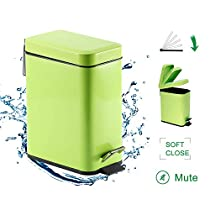 GiniHome Office Bin, Small Kitchen & Bathroom, Waste Basket-Soft Close, Waterproof and Easy to Clean-5 Liter/1.3 Gallon (Green) Cuboid Step Trash Can with Lids
