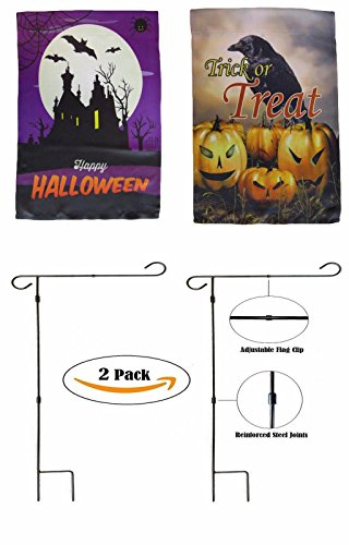 ALBATROS 12 inch x 18 inch Happy Halloween #3 Sleeved with Garden Stand Flag for Home and Parades, Official Party, All Weather Indoors Outdoors
