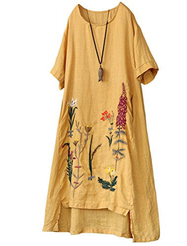 - Minibee Women's Embroidered Linen Dress Summer A-Line Sundress Hi Low Tunic Clothing Yellow L