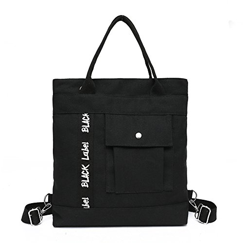 Tomwell Woman Girl Fashion Handbag Shoulder Bag Big Bag Shoulder Bag Multifunctional Cross-body Bag Black Canvas