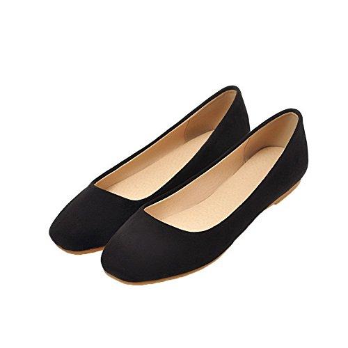 Puntera Sólido Negro De Cerrada Aalardom Zapatos Bajo Mujeres Slip on Tacón RCyyTSwFq