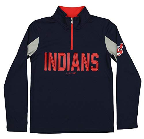 Outerstuff MLB Youth Boys 1/4 Zip Performance Long Sleeve Top, Cleveland Indians, Medium