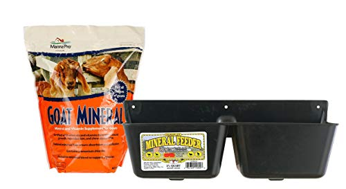 Little Giant Mineral Feeder, 3.5-Quart with Manna Pro Goat Mineral Supplement, 8 lb