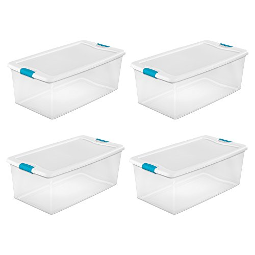 Sterilite 106-Qt. Clear Stackable Latching Storage Box Container, 4 Pack | 1499]()