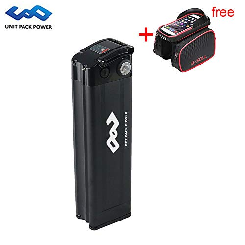 UnitPackPower 36V 10AH Lithium ion E-Bike Battery Silver Fish for 18650 Cells with Potable Handle, fits 36V 500W E-Bike Motor/Mountain Bike/Road Bike/Cyclocross Bike/Scooter (Black)