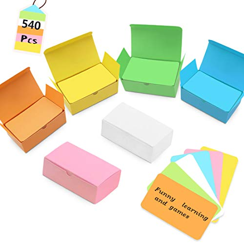 Pradye Index Cards Blank business cards 540 Pieces 6 Colors Flash Cards Blank Cards Note Cards Vocabulary Word Card 2.2