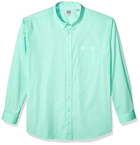 (Cinch Men's Classic Fit Long Sleeve Button One Open Pocket Solid Basic, Green, Small)