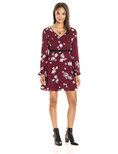 PARIS SUNDAY Women's Blouson Sleeve V Neck Fit and Flare Dress, Maroon Floral, Large (Dresses For Spring)
