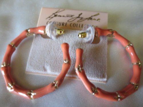 Kenneth Jay Lane Coral Enamel Bamboo Hoop Pierced Earrings - Lane Kjl Coral