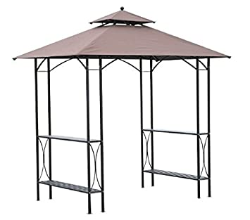 Negro metal 8 ft nivel barbacoa doble toldo tienda de café con 2 laterales Tables para