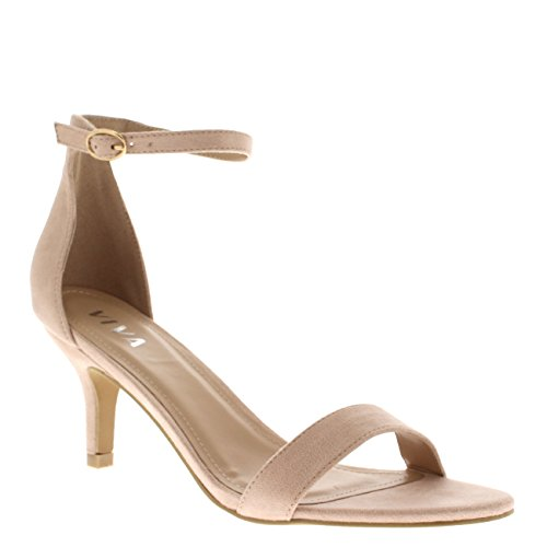 Viva Womens Low Kitten Heel Ankle Strap Suede Office Work Evening Sandal Shoes Nude LXL7y