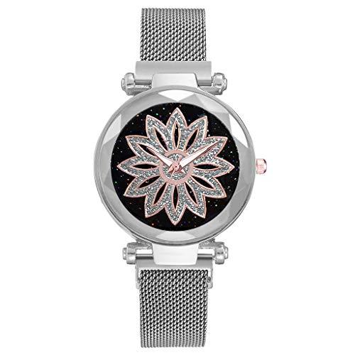 Women's Watch Fashion Starry Sky Good Luck Quartz Magnetic Buckle Belt Ladies Watch Women's Wrist WatchesSilver