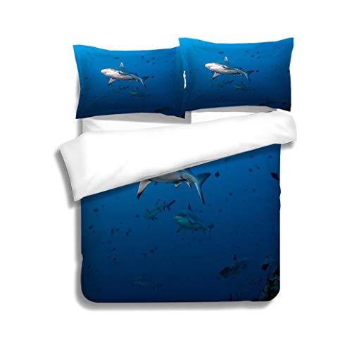 MTSJTliangwan Family Bed Gray Fin Reef Shark 3 Piece Bedding Set with Pillow Shams, Queen/Full, Dark Orange White Teal Coral