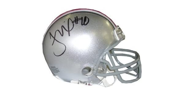 06 Heisman Troy Smith Autographed Signed Ohio State Buckeyes Alternate Black Speed Mini Helmet Red Decal