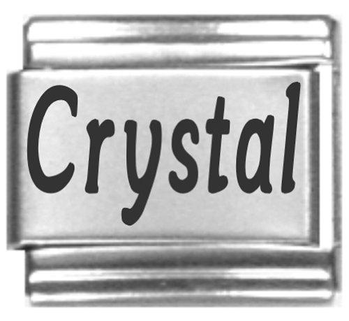 Crystal Laser Name Italian Charm Link