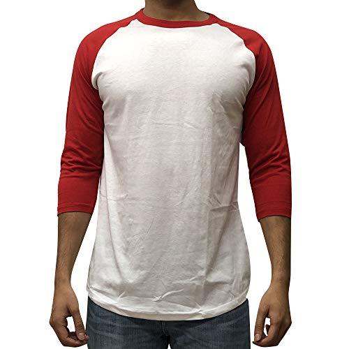 - KANGORA Men's Plain Raglan Baseball Tee T-Shirt Unisex 3/4 Sleeve Casual Athletic Performance Jersey Shirt (24+ Colors) (White Red, X-Large)
