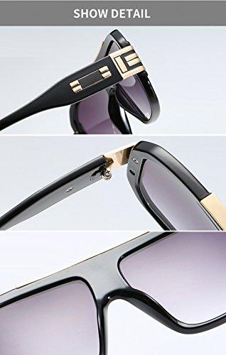 Oro retro marco de de retro Negro hombres diseñador de cuadradas de Gafas grande tamaño de gran UV400 diseñador mujeres para Gafas sol estilo gTTqrI