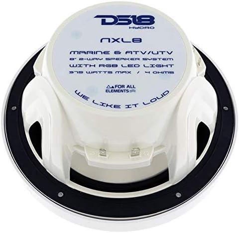 375W Max ATV /& Jeeps Integrated RGB LED Lighting 100/% UV Stable for All Elements UTV IP65 Marine Grade Specs 2-Way 8 4 Ohms 125W RMS 2 Speakers DS18 CF8 Carbon Fiber Marine Speaker