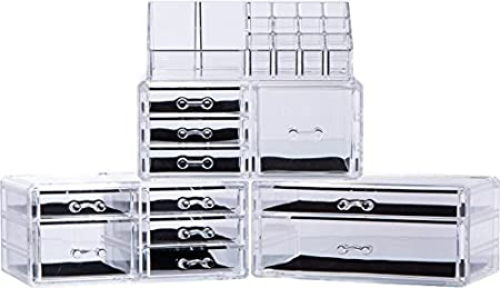 a912b453415b Large 9 Tier Clear Acrylic Cosmetic Makeup Storage Cube Organizer ...