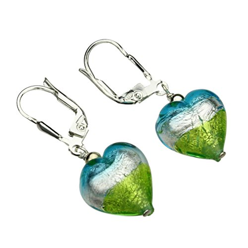 Murano-style Glass Heart Sterling Silver Leverback Earrings