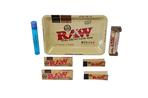 RAW-Rolling-Tray-Combo-Includes-RAW-Tray-RAW-1-14-Classic-Rolling-Papers-RAW-79MM-Roller-RAW-Tips-and-Roll-With-Us-Doobtube
