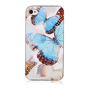 YULIN Hermosa modelo azul de la mariposa original Marco Transparente de nuevo caso para el iPhone 4/4S