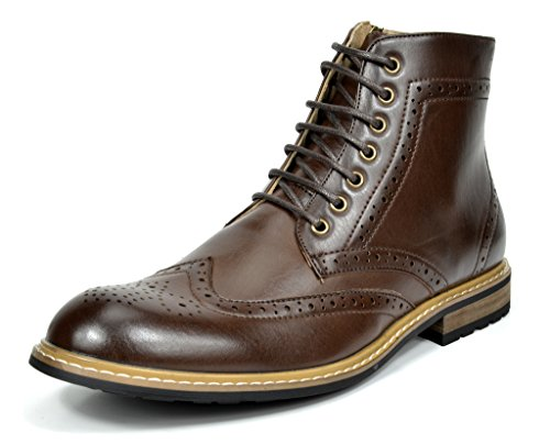 Bruno MARC BERGEN-01 Men's Formal Classic Lace Up Leather Lined Perforated Design Tall Ankle Oxford Boots DARK BROWN SIZE 12