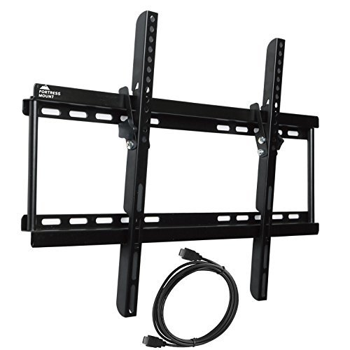 "Fortress Mount TV Wall Mount for 40-75"" TVs up to 165 lbs with 9-feet Braided HDMI Cable"