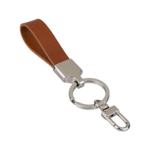 Richbud Full Grain Leather Gold Key Ring Lobster Swivel Keychain Fob (Tan-Silver)