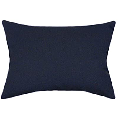 TPO Design Sunbrella Navy Indoor/Outdoor Solid Patio Pillow 12x18 Rectangle: Home & Kitchen