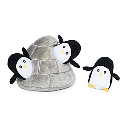 ZippyPaws-Zoo-Friends-Burrow-Interactive-Squeaky-Hide-and-Seek-Plush-Dog-Toy-Penguin-Cave