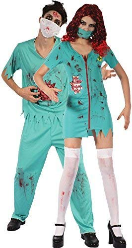 Couples Mens AND Ladies Zombie Surgeons Halloween Horror Scary Gore Fancy Dress Costumes Outfit]()