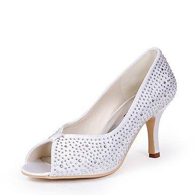 Wuyulunbi@ Scarpe donna seta Primavera Estate della pompa base scarpe matrimonio Stiletto Heel Peep toe strass per la festa di nozze & Evening White Bianco